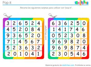 juego de números con popit