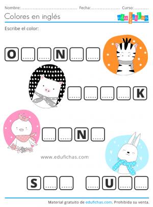 vocabulario de colores ejercicio