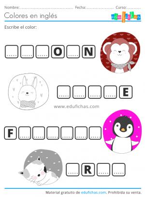 worksheets colores en ingles