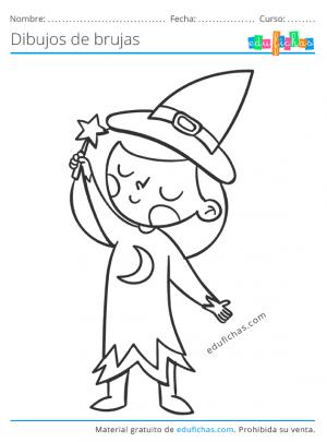 colorear una bruja
