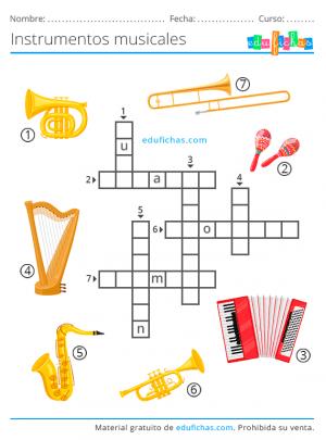 crucigrama de instrumentos musicales