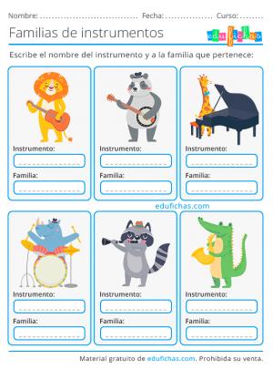 ejercicio de nombres de los instrumentos musicales