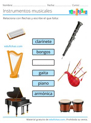 ejercicios de instrumentos musicales para aprender sus nombres