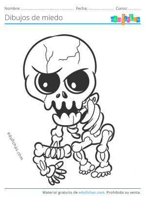 esqueleto de miedo para colorear