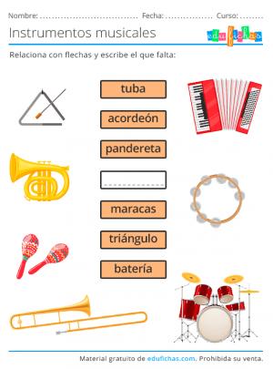 fichas de instrumentos para niños