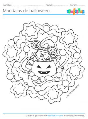 mandala de halloween kawaii