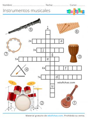nombres de instrumentos crucigrama