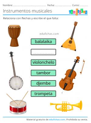 nombres de instrumentos de música ejercicio